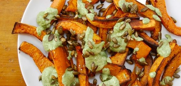 Roasted squash with coriander pesto