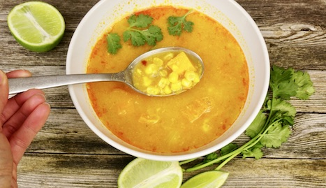 Late summer sweetcorn soup